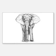 Elephant Drawing Sticker (Rectangle)