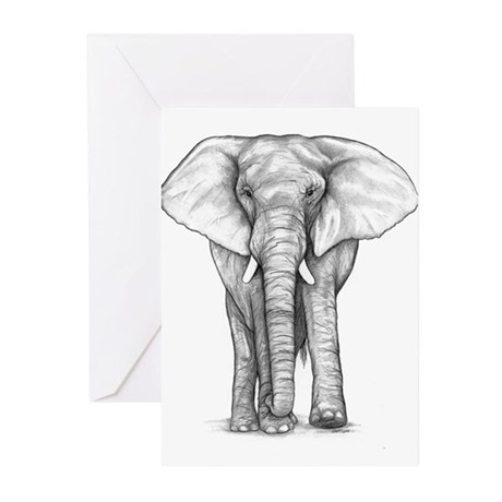 Elephant Drawing Greeting Cards (Pk of 10)