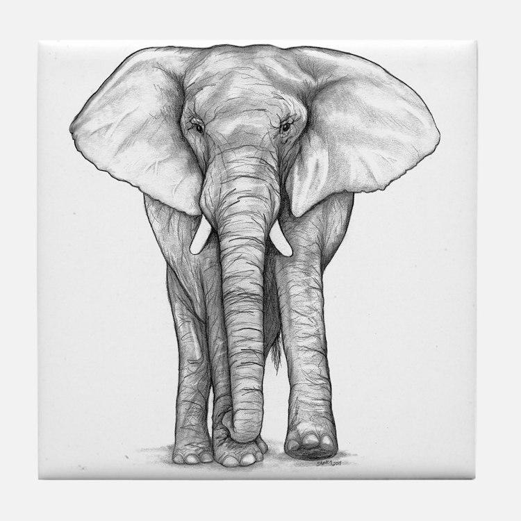 Elephant Drawing Tile Coaster