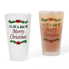 """Merry Christmas OK!"" Drinking Glass"