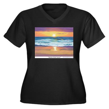 Marine Street Sunset Women's Plus Size V-Neck Dark