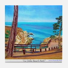 La Jolla Beach Path Tile Coaster
