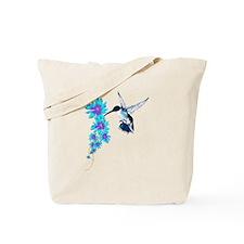 Humming Bird In Blue Tote Bag