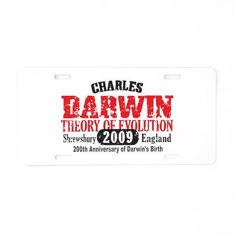 Charles Darwin Aluminum License Plate