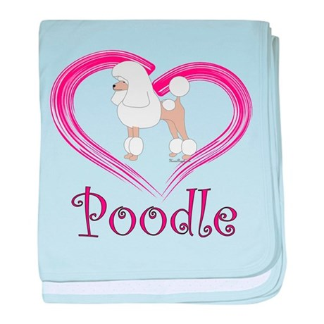 Heart My Poodle baby blanket