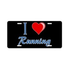 I Heart Running Aluminum License Plate