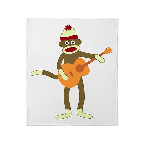 Sock Monkey Acoustic Guitar Throw Blanket