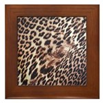 Exotic Leopard Print Framed Tile