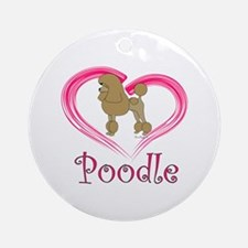 Heart My Poodle Ornament (Round)