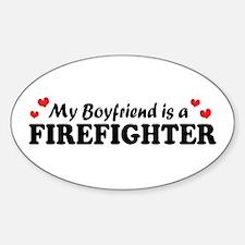 My Boyfriend is a Firefighter Oval Decal