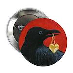 Crow steals heart Button