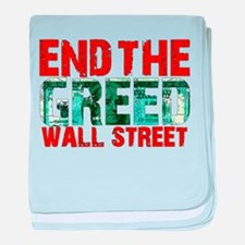 End The Greed Wall Street baby blanket