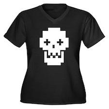 Digital Skull Women's Plus Size V-Neck Dark T-Shir