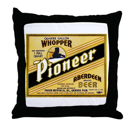 Washington Beer Label 2 Throw Pillow