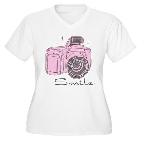 Camera Smile Women's Plus Size V-Neck T-Shirt