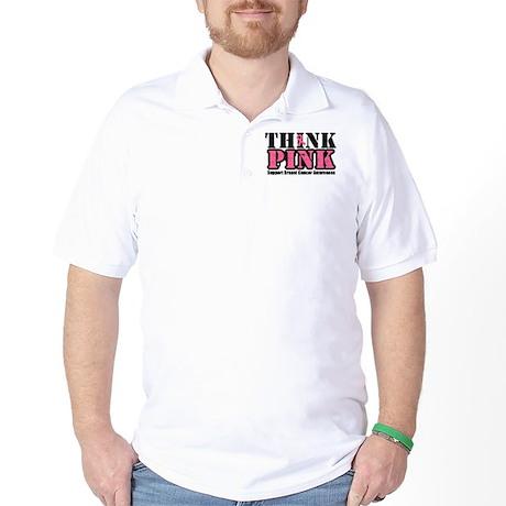 ThinkPinkGrunge Breast Cancer Golf Shirt
