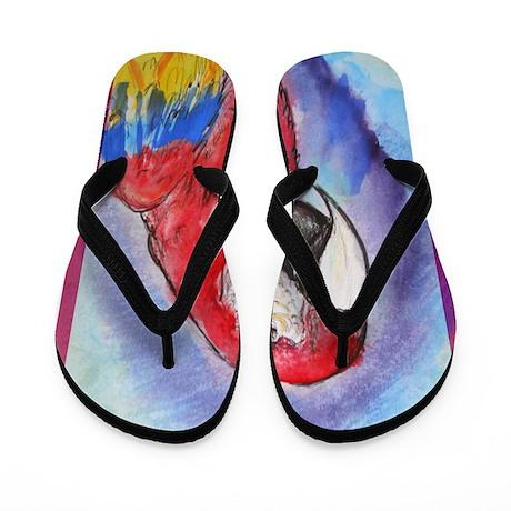 Scarlet Macaw, parrot, art, Flip Flops