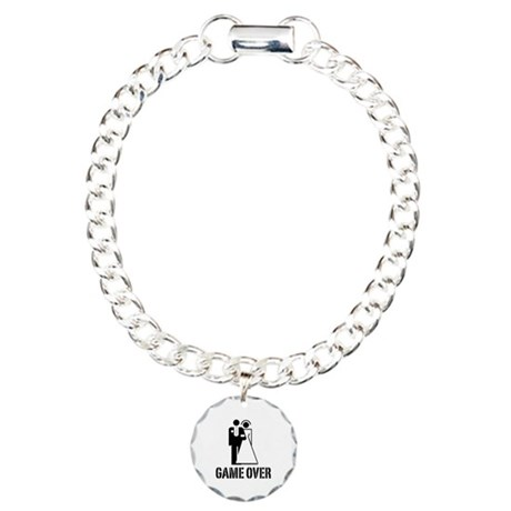 Game Over Bride Groom Wedding Charm Bracelet, One
