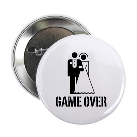 """Game Over Bride Groom Wedding 2.25"""" Button (100 pa"""