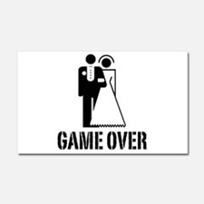 Game Over Bride Groom Wedding Car Magnet 20 x 12