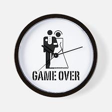 Game Over Bride Groom Wedding Wall Clock