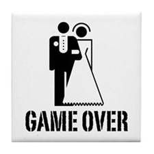 Game Over Bride Groom Wedding Tile Coaster