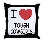 I heart tough cowgirls Throw Pillow