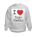I heart tough cowgirls Kids Sweatshirt