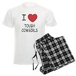 I heart tough cowgirls Men's Light Pajamas