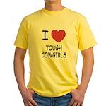 I heart tough cowgirls Yellow T-Shirt