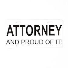 The Proud Attorney Aluminum License Plate