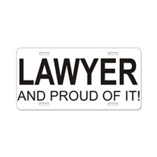 The Proud Lawyer Aluminum License Plate