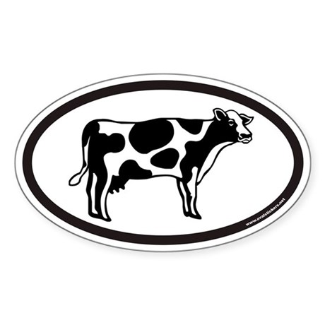 Dairy Cow Euro Oval Sticker