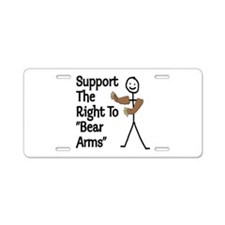 """Support The Right to """"Bear Arms"""" Aluminum License"""