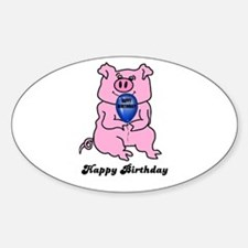 HAPPY BIRTHDAY PINK PIG Oval Decal