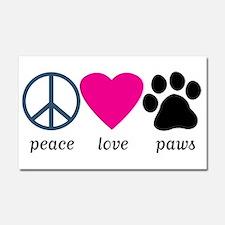 Peace Love Paws Car Magnet 20 x 12