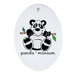 Panda-monium Cartoon Oval Ornament