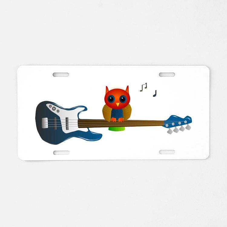 Blue & Orange Owl on Guitar Aluminum License P