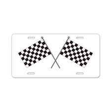 Checkered Flag Aluminum License Plate