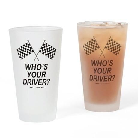 Checker Flag Driver Drinking Glass