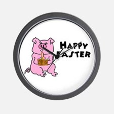 PIG WITH A BASKET Wall Clock
