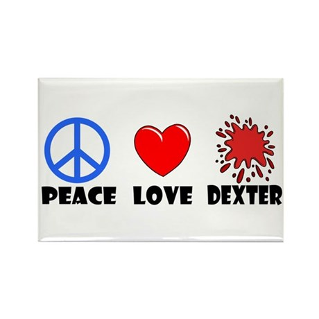Peace Love Dexter Rectangle Magnet (100 pack)