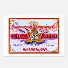 Wisconsin Beer Label 5 Postcards (Package of 8)