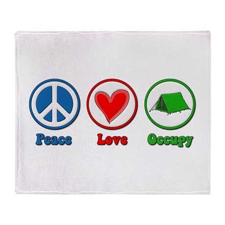Peace Love Occupy Protest Throw Blanket