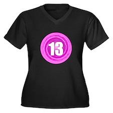 Teenager Girl Women's Plus Size V-Neck Dark T-Shir