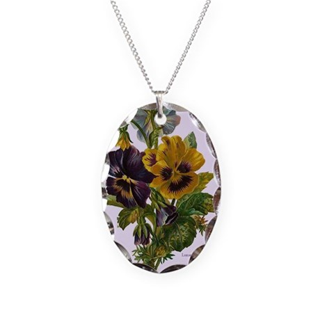 Pansies Victorian Flowers vin Necklace Oval Charm