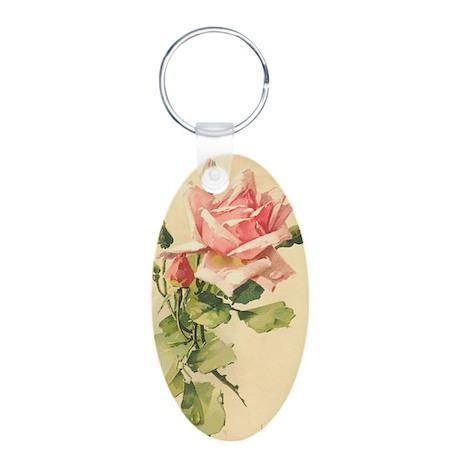 Pink Rose Victorian Flower Vi Aluminum Oval Keycha