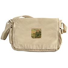 Water Lily antique flower lab Messenger Bag