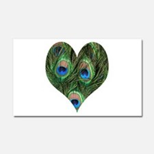 Peacock Feather Heart Car Magnet 20 x 12