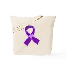 Alzheimer's Purple Ribbon Tote Bag